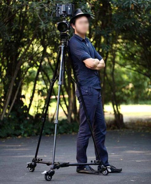 Professional Folding Tripod Dolly For Studio Photo Video Lighting Lockable With Three Wheels Tripod RU DV mobile pulley base