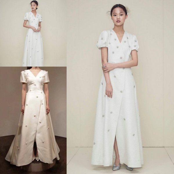 Gorgeous White Satin Evening Dresses Lady Formal Dresses V Neck Short Sleeves Floor-Length Prom Pageant Dress Party