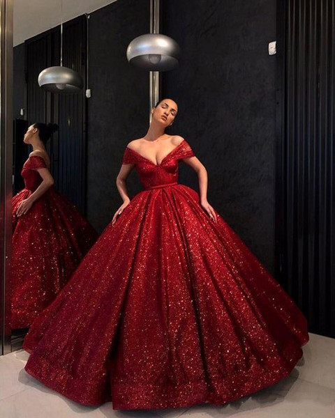 Dark Red Evening Dresses Off The Shoulder V Neck Ball Gown Robes De Soiree 2018 Sequined Prom Dress Puffy Skirt