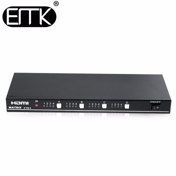EMK 4x4 HDMI TV Matrix 4 input 4 output True Matrix Switch Splitter support 1920x1080 60Hz with RS232 Remote Control Switch