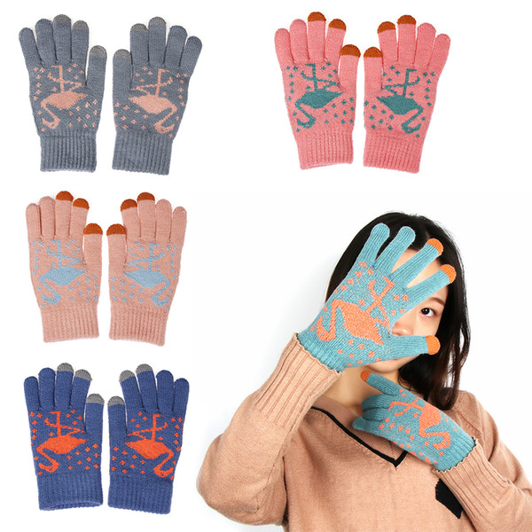 Women's Winter Ourdoor Knitted Gloves Cute Flamingo Pattern For Phone Screen Warm Glove Lady Stretch Fashion Suede Fabric Gloves