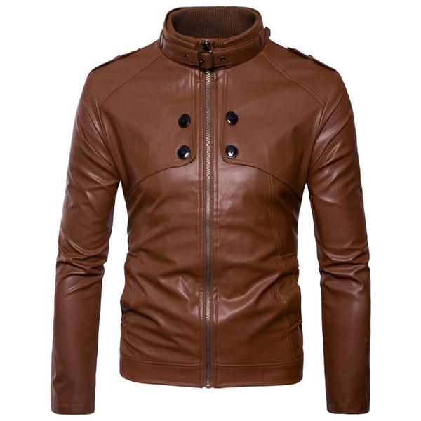 Hombres chaqueta de cuero marrón chaqueta de la motocicleta hombres jóvenes Slim Fit Zipper Blazers para niños estilo de moda de EE.UU.