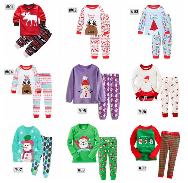 Xmas Kids Christmas PJS 2PCS Suits Boys Girls Christmas Santa Pajamas Set Pyjamas Kids Spring Autumn Sleep Clothing Set for 2-7T 10styles
