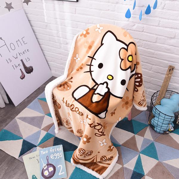 Hello Kitty Cartoon Sherpa Blankets Throw Plush franela bebé niño pequeño manta de viaje en la cama / sofá / coche tamaño 100 * 140cm