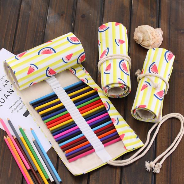 36/48/72 Holes Canvas pencil bag watermelon cosmetic brush case fresh art suppliy cute make up pouch summer curtain roller student pen bag