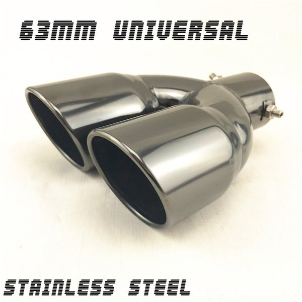 Glossy Black Dual Pipe Car Exhaust Tip Stainless Muffler Tail Cover Universal
