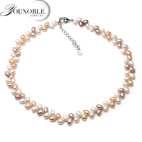 YouNoble Genuine freshwater pearl necklace pendant,real wedding pearl necklaces for women mother birthday anniversary best gift Y18102910