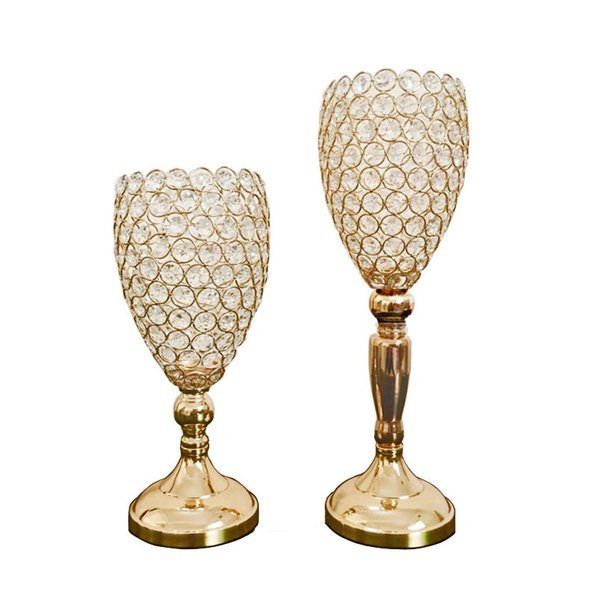 6pcs/lot Gold Silver color crystal beaded flower stand wedding table centerpiece crystal vase event decor candle holder