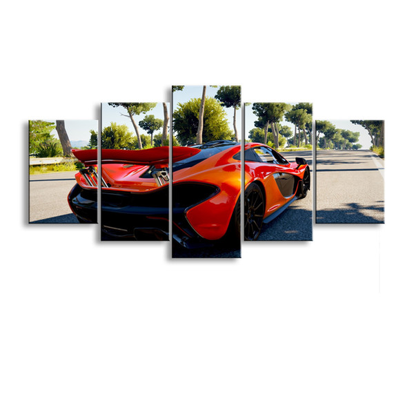 5 pieces high-definition print sports car canvas oil painting poster and wall art living room picture C5-14