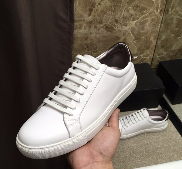 Brand Men cow leather low top genuine cow leather flat skateboarding shoe fashion sneakers lace-up casual street dancing white shoe,38-44