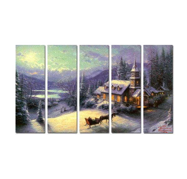 Große 5 Panel Moderne Giclée-Druck Malerei Thomas Kinkade Landschaft Ölgemälde Leinwand Kunst Wandbild für Wohnzimmer Wohnkultur Tms027