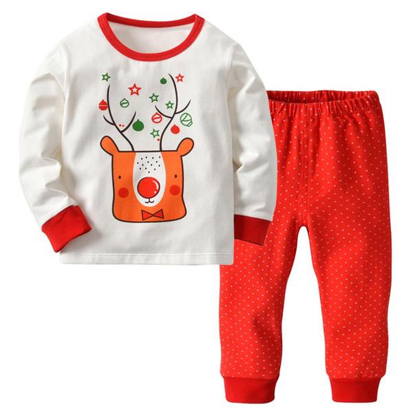16bde0b62af Niños Disfraces de Navidad Para Niños Ropa Niños Niñas Ropa Conjuntos Traje  de Impresión de Algodón