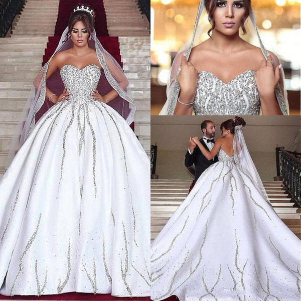 Luxury Design White Wedding Dresses With Crystals Sweetheart Satin Chapel Train Wedding Gowns Formal Women 2018 Bridal Dress Brautkleider