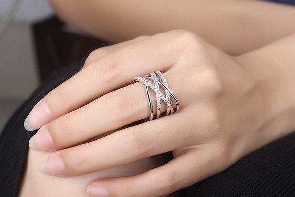 Ring female style Japan and Korea version of double - layer hipster line diamond simple ring wholesale