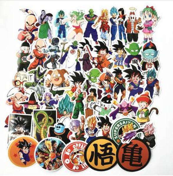 TD ZW 2018 50 Unids / lote Anime Dragon Ball Pegatinas Súper Saiyan Goku Pegatinas Calcomanía Para Snowboard Equipaje Nevera Coche Pegatina Portátil