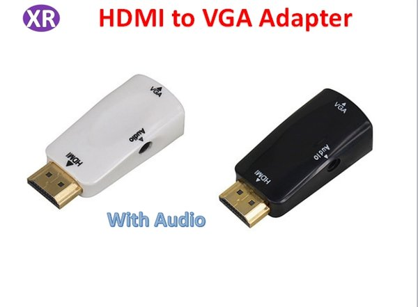 Hdmi to VGA Adapter With Audio Output For PC to HDTV Projector 1080p HDIMI Male To Female VGA Potable Adapter NO3 White/Black DHL