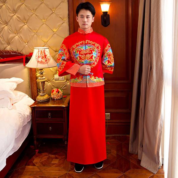 Mostra mens abito da sposa in stile cinese abito da sposa rosso ricamo abito da sera kimono giacca tuta abito costumi costumi toast pratensis