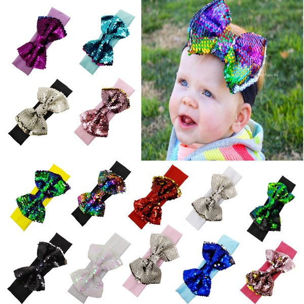14 colors baby big sequins bow headbands for girls kids Christmas hair bows babies elastic headbands head wrap hair accessories hair LJJM285