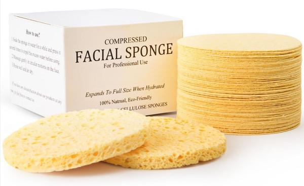 2018 Spugne facciali cellulosiche naturali compresse (50 Count) 65mm * 10mm Spugne compresse naturali per uso professionale 50pz / set