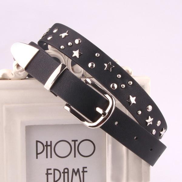 PU Star Rivet Belt Fashion Rhinestone Women's Studded Belts High Quality Female Leather Rock Women Strap For Jeans