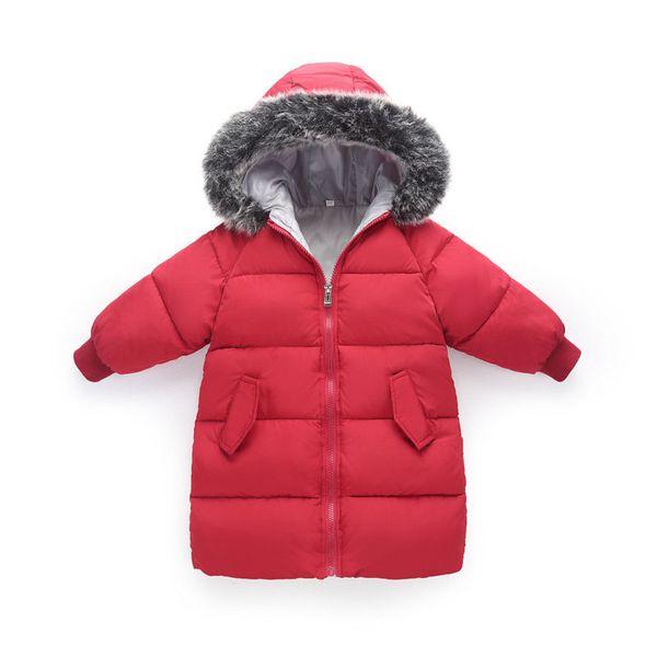 Kızlar Için Kış Aşağı Ceket Boys Için Kış çocuk Giysileri Kız Erkek Snowsuit Sıcak Coat Modası Bebek Chothing Kırmızı Dış Giyim Şapka