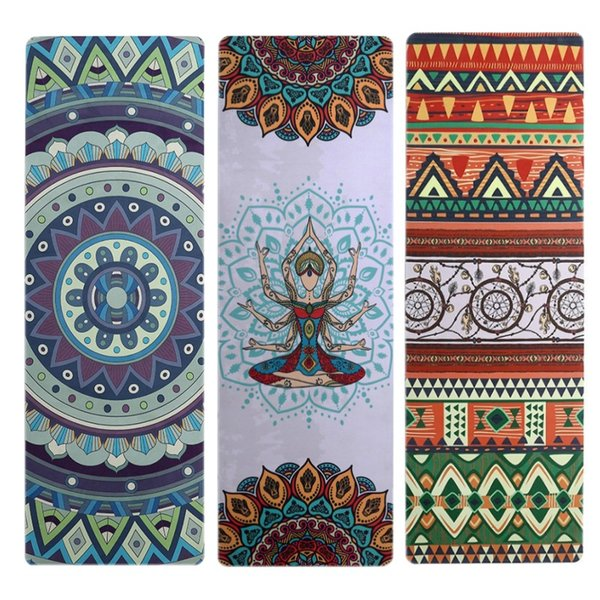 2019 Natural Rubber Suede Printed Non Slip Yoga Rubber Yoga Mat