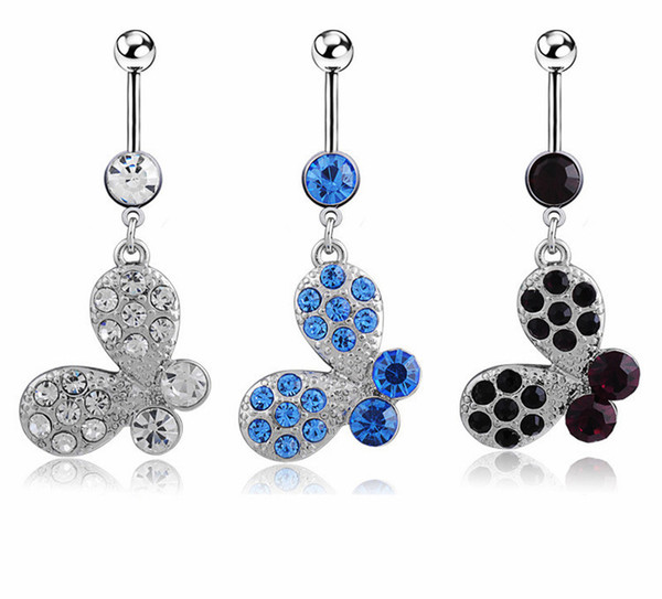 D0373-1 ( 1 color ) Nice style Navel Belly ring 10 pcs CLEAR stone drop shipping with wholesale factory price