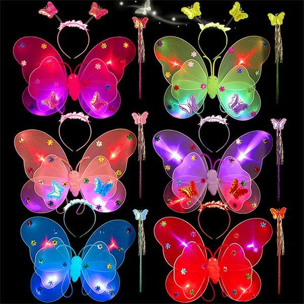 3pcs/Set Girls Led Flashing Light Fairy Luminous Butterfly Wing Wand Headband Costume Toy luminous stickers for kids child A1
