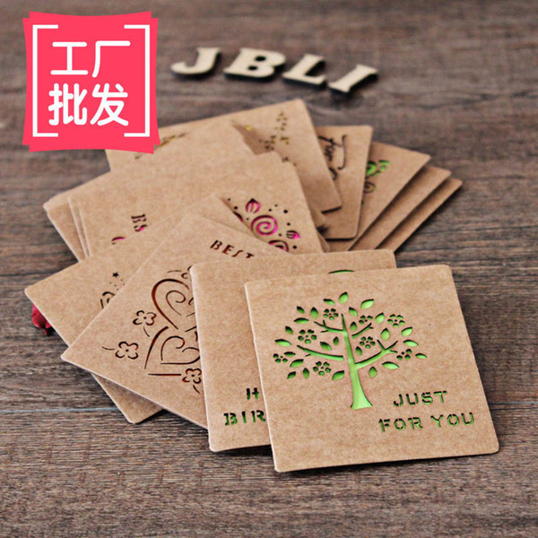Free ship!1lot=48pc!Small hollow kraft paper cards / birthday / holiday greeting card Valentine cards with paper envelope