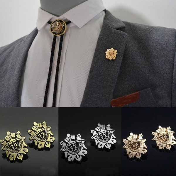 Men's brooch brooch retro suit accessories temperament crown shield shirt pin