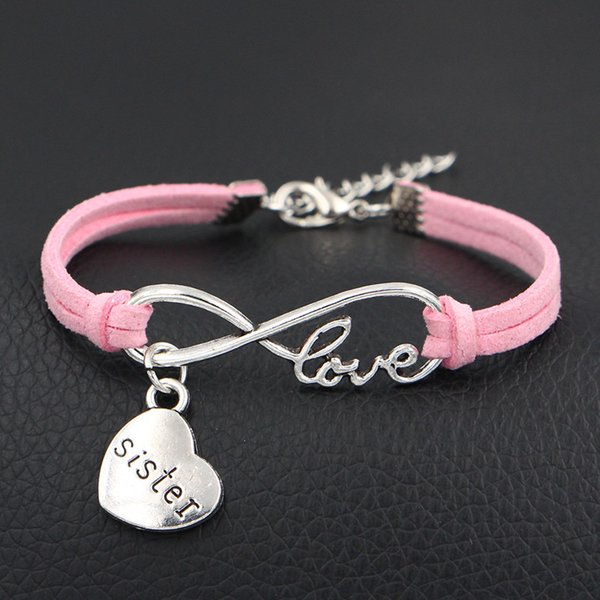12 Color Infinity Love Heart Sister Charm Bracelet Silver Handmade Jewelry Pink Leather Rope Adjustable String Lucky Bangles For Women Men
