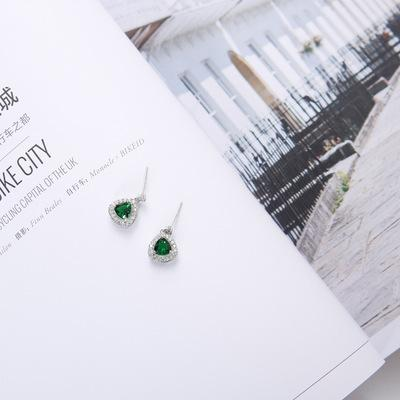 S925 silver needle ancient emerald, zircon, earrings, solid geometry, cut face, temperament, all around, earrings.