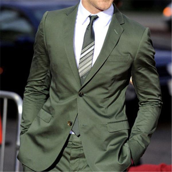 Green Groom 2 Pieces(Jacket+Pants+Tie) Terno Masculino Best Man Two Button Lapel Best Wedding Men's Suit Custom Blazer