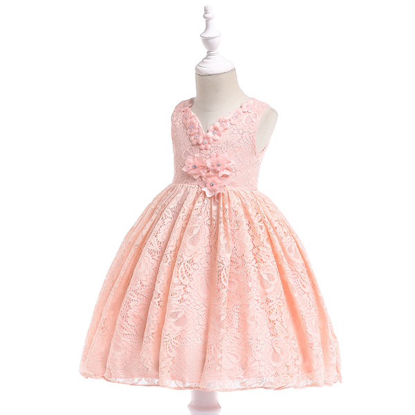 Kids Girls Flower Girl Dresses Tulle Floral Party Princess Dress for Children Formal Prom Ball Gown