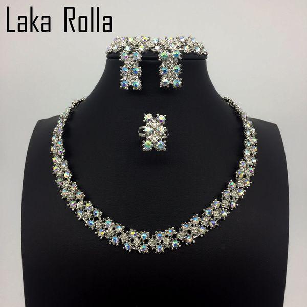 Top Cambiare colore cristallo Set di gioielli India africani Set di gioielli Foglie Orecchini Bracciali Anelli per le donne da sposa