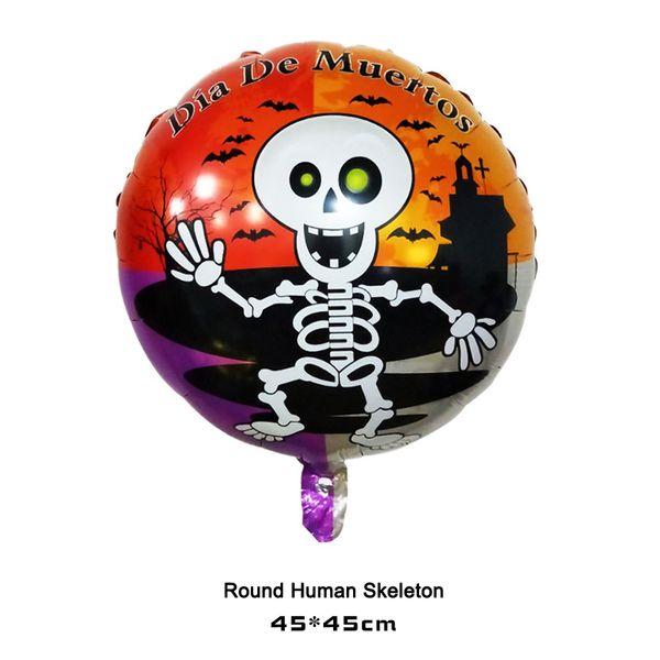 Halloween Cartoon party Balloons Aluminum Skull Witch Pumpkin Pattern party Balloon Birthday Party Decor Designs Round Ball