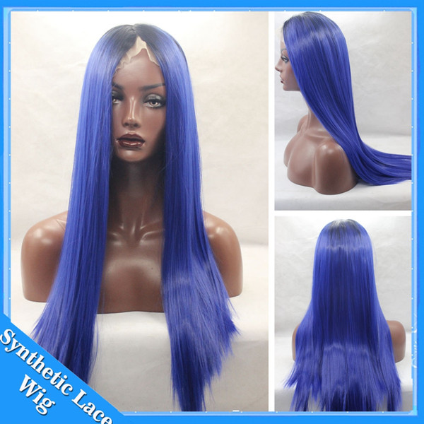 Blue Ombre Wig Silky Straight Synthetic Lace Front Wigs Heat Resistant Fiber Black To Sky Blue Lace Front Wigs 150% High Density