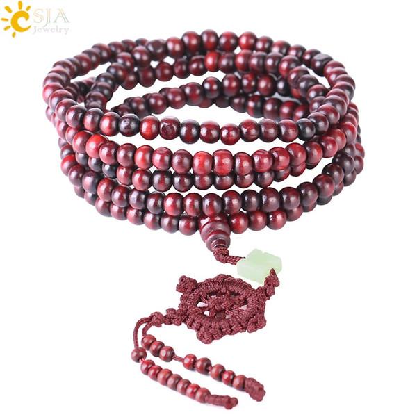 CSJA 6mm Natural Wooden Beads Bracelet Sandalwood Buddhist Buddha Wood Prayer Bead Mala Unisex Men Bracelets & Bangles Jewelry Bijoux S069