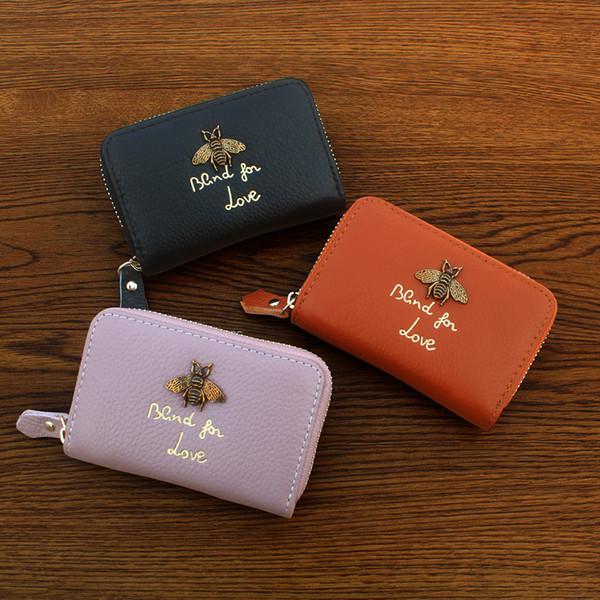 Großhandel Neue Leder Karte Tasche Koreanische Damen Biene Clip Mode Große Namen Leder Visitenkarten Tasche Brieftasche Explosionen Von Ladysbag