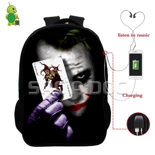 The Dark Knight Joker Rucksack für Jugendliche Jungen Mädchen Multifunktions USB Charge Kopfhörer Jack Schultaschen Laptopl Reisetaschen