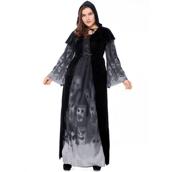Plus Big Size per Fat Ladies Gothic Witch Vampire Costume Skeleton Print Abito nero lungo
