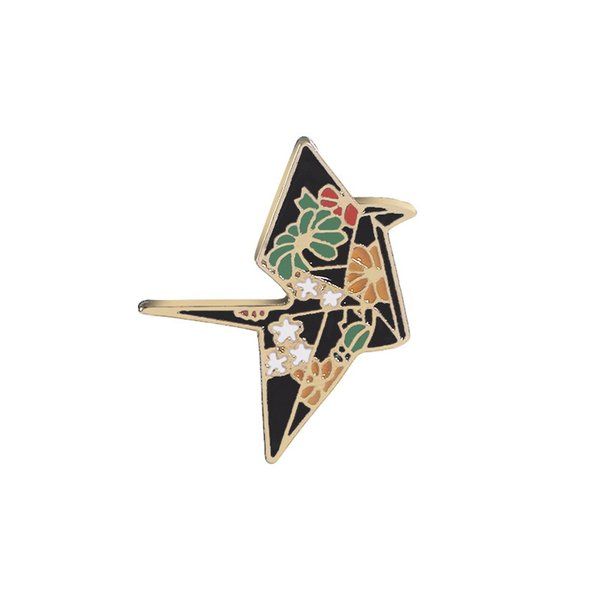replicate Crane pins in brooches Enamel Origami pins Badge Denim Jackets pin flower crane pin brooch for backpack jeans