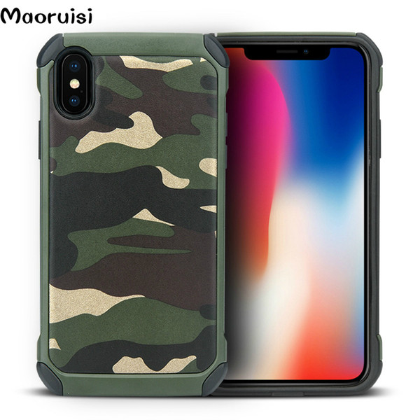 For iPhone X Xs XsMax Xr 8 7 6 6S Plus case Army Camouflage 2 in1 Pattern PC+TPU Armor Anti-knock Protective Back Cover For iPhone X bags