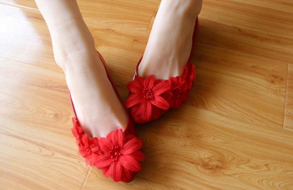Free send Hot Red bride wedding shoes flower women shoes flat bottom shoes heel 3cm ,5cm