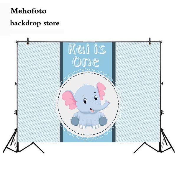 all'ingrosso Elephant Background per Photo Studio Blue Baby Shower First palloncini sfondo per fotografia puntelli 924