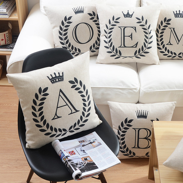Fine English Alphabet Cushion Covers Baby Name Initials Home Love Crown Decorative Cushion Cover Linen Cotton Pillow Case For Sofa Couch Large Patio Unemploymentrelief Wooden Chair Designs For Living Room Unemploymentrelieforg