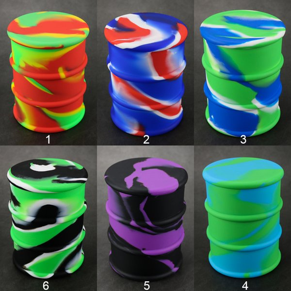 Large 500 ML oil barrel silicone dab containers custom logo oil rubber drum dry herb concentrate bho extractor wax vaporizer