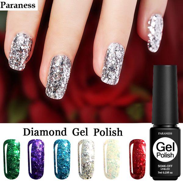 Paraness Hybrid Nail Art UV LED Soak-Off Glitter Platinum Nail Gel Polish Varnish Long Lasting Diamond Glitter Gel Polish