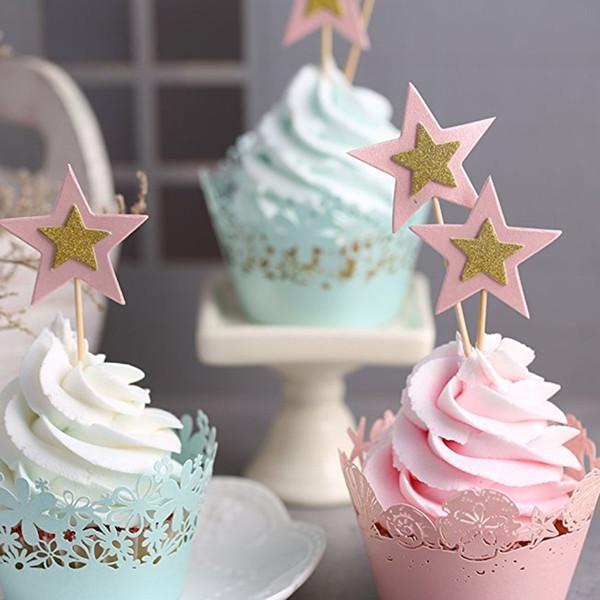 10 Pçs / lote Cintilam Estrelas Pequenas Cupcake Toppers Fontes Do Partido Do Evento Do Casamento Crianças Decorações Do Partido de Aniversário Cupcake Toppers