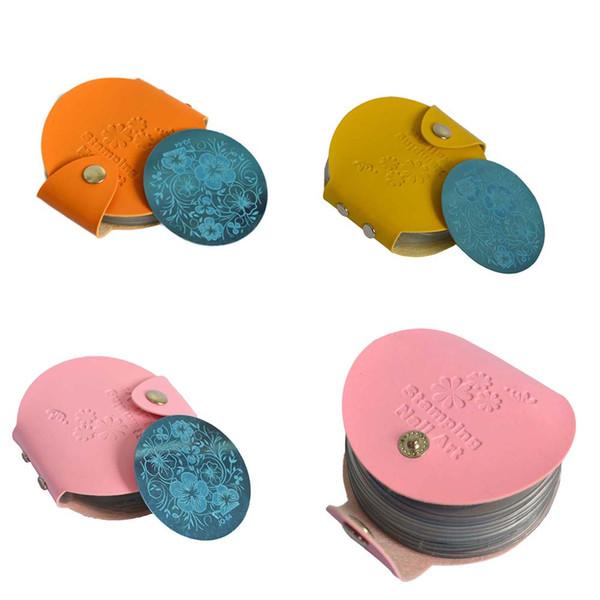 art stamper Newest 24slots Leather Nail Art Stamper Bags/Case/Folder for 5.5cm Stamping Holder Album Storage 4 Color Nail Tools NC127